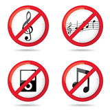 Set of not allowed music Royalty Free Stock Photography