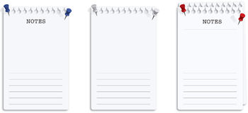 Set of Note Pages with Push Pins Stock Photos