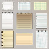 Set of note paper lists Stock Photography