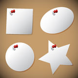 Set of note papers with pin Stock Photo