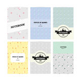 Set of notebook covers with pattern rockets and mountains in vector. Child book.  royalty free illustration