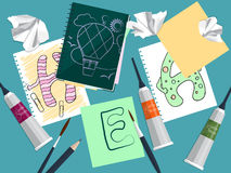 Set with notebook, drawings and art supplies on the table. Vector Stock Photos
