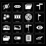 Set of Notebook, Note, Folder, Street, Id card, Radar, Settings, Hide icons. Set Of 16 icons such as Notebook, Note, Switch, Folder, View, Hide, Settings, Id stock illustration