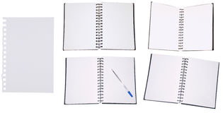 Set of Notepads. Set of Blank White Note Books isolated on white background royalty free stock photo