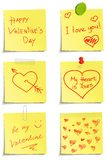 Set of notes to Valentine day Royalty Free Stock Image