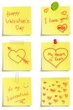 Set of notes to Valentine day. Original handwritten paper notes  to Valentine day Royalty Free Stock Image