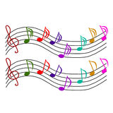 Set of notes with treble clef Royalty Free Stock Photography