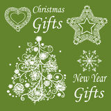 Set nowego roku i bożych narodzeń symbole Fotografia Royalty Free