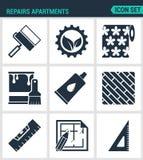 Set nowożytne ikony Napraw mieszkania rolkowa przekładnia, tapeta, farba, kleidło, deskowego pozioma układ, kwadrat Czerń znaki Obrazy Royalty Free