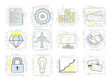 Set nowożytne liniowe biznesowe ikony Znaki dla rozpoczęcia Obrazy Stock