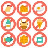Set nowożytne płaskie ikony z produktów zawierać Zdjęcie Royalty Free