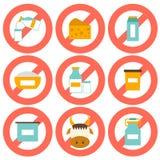 Set nowożytne płaskie ikony z produktów zawierać Zdjęcia Stock