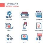 Set nowożytnej biuro linii projekta płaskie ikony i piktogramy ilustracji