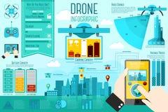 Set nowożytni lotniczy trutnia Infographic elementy z royalty ilustracja