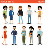 Set nowożytni ludzie, mężczyzna i kobiety, ilustracja wektor