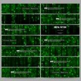 Set nowożytni sztandary Rzeczywistość wirtualna, abstrakcjonistyczny technologii tło z zielonymi symbolami, wektorowa ilustracja Fotografia Royalty Free