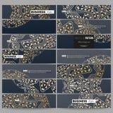 Set nowożytni sztandary Złoty mikroukładu wzór, abstrakcjonistyczny szablon z łączyć, kropki i linie, podłączeniowa struktura Fotografia Royalty Free