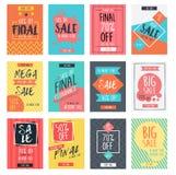 Set nowożytny sprzedaż sztandarów szablonu projekt z kolorowym latem Zdjęcia Stock