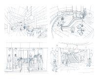 Set nowożytny wewnętrzny centrum handlowe Inkasowy różnorodny astronautyczny centrum handlowe Konturowa nakreślenie ilustracja ilustracji