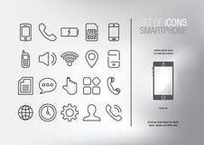 Set Nowożytne Futurystyczne Mobilne wektorowe ikony Ikony dla telefonu komórkowego interfejsu Obraz Stock