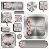Set nowożytni aluminiowi guziki Fotografia Royalty Free