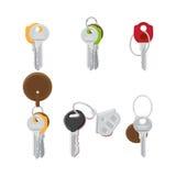 Set Nowożytni drzwi klucze na Keyring mieszkania wektorach Obrazy Royalty Free