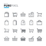 Set nowożytny cienieje kreskowego piksla perfect ikony zakupy, handel elektroniczny Zdjęcia Royalty Free