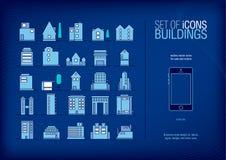 Set Nowożytny Futurystyczny budynek ikon kontur Minimalistic linii ikona Obrazy Royalty Free