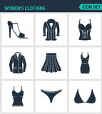 Set nowożytne ikony Kobiet s odzieży buty, żakiet, kurtka, żakiet, spódnica, suknia, koszulka, pływaccy bagażniki, brassiere czer Obraz Stock
