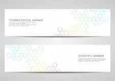 Set nowożytni naukowi sztandary Molekuły struktury DNA i neurony abstrakcyjny tło Medycyna, nauka, technologia Zdjęcia Royalty Free