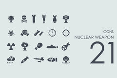 Set of nuclear weapon icons. Nuclear weapon vector set of modern simple icons Stock Images