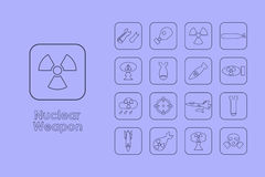 Set of nuclear weapon simple icons Royalty Free Stock Images
