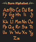 Set of number burned alphabet Stock Photography