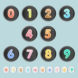Set of number on button with long shadow. Vector Royalty Free Stock Photos