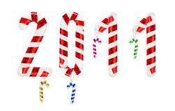 Set of number from candy cane Stock Photos