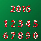 Set of number in candy cane style Stock Photo