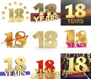 Set of number eighteen year 18 year celebration design. Anniversary golden number template elements for your birthday party. 3D. Illustration stock illustration