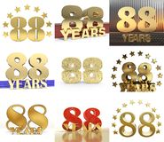 Set of number eighty eight year 88 year celebration design. Anniversary golden number template elements for your birthday party. 3D illustration Stock Illustration