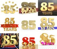 Set of number eighty five year 85 year celebration design. Anniversary golden number template elements for your birthday party. 3D illustration stock illustration