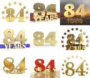 Set of number eighty four year 84 year celebration design. Anniversary golden number template elements for your birthday party. 3D illustration Stock Illustration