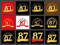 Set of number eighty-seven 87 years celebration design. Anniversary golden number template elements for your birthday party.. Set of number eighty-seven 87 vector illustration