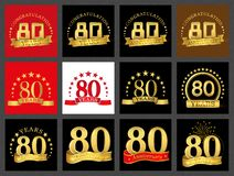 Set of number eighty 80 years celebration design. Anniversary golden number template elements for your birthday party.. Set of number eighty 80 years vector illustration