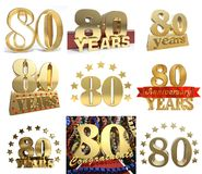 Set of number eighty years 80 years celebration design. Royalty Free Stock Photo