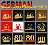 Set of number eighty 80 years celebration design. Anniversary golden number template elements for your birthday party. Translate. D from the German vector illustration