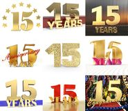 Set of number fifteen year 15 year celebration design. Anniversary golden number template elements for your birthday party. 3D i. Llustration Royalty Free Illustration