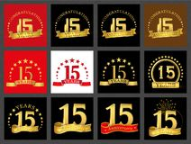 Set of number fifteen 15 years celebration design. Anniversary golden number template elements for your birthday party.. Set of number fifteen 15 years royalty free illustration