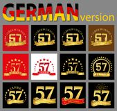 Set of number fifty-seven 57 years celebration design. Anniversary golden number template elements for your birthday party. Tran. Slated from the German vector illustration