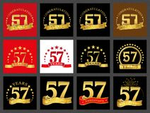 Set of number fifty-seven 57 years celebration design. Anniversary golden number template elements for your birthday party.. Set of number fifty-seven 57 years royalty free illustration