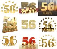 Set of number fifty six year 56 year celebration design. Anniversary golden number template elements for your birthday party. 3D. Illustration royalty free illustration