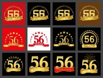 Set of number fifty-six 56 years celebration design. Anniversary golden number template elements for your birthday party.. Set of number fifty-six 56 years vector illustration